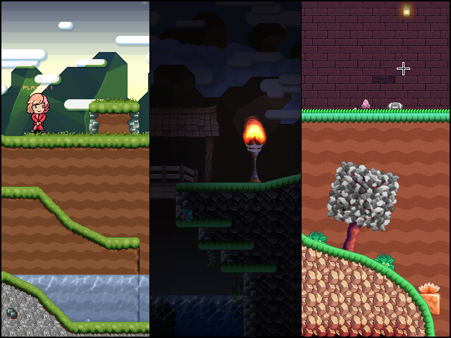 Screenshot of various environments you can create with the level editor